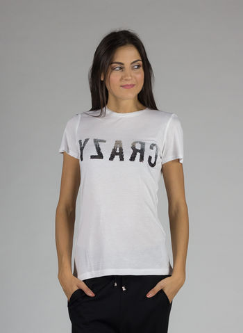 T-SHIRT STAMPA CRAZY PAILLETTES, BIANCO, small