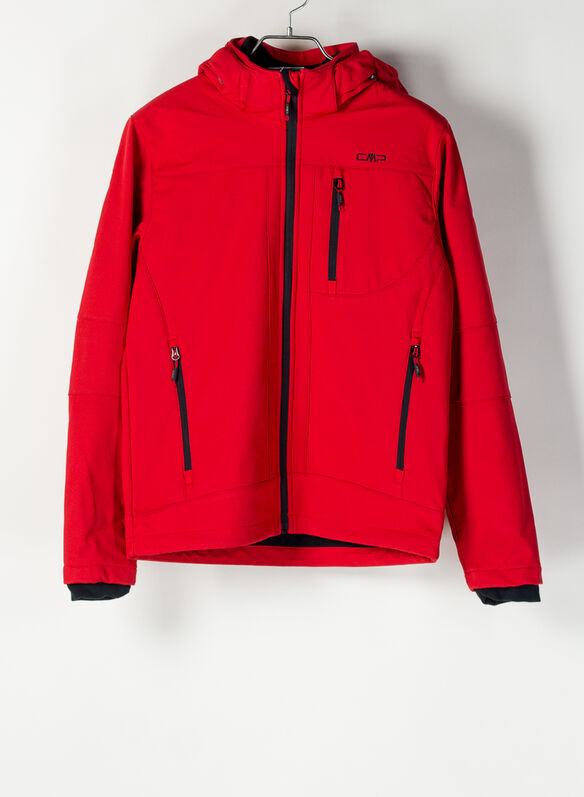 MUTINO JACKET ZIP HOOD SOFTSHELL, 55BE RED, medium