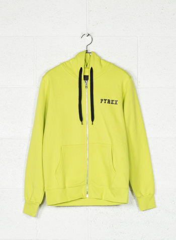 FELPA FULL ZIP LOGO CAPPUCCIO, LIME, small