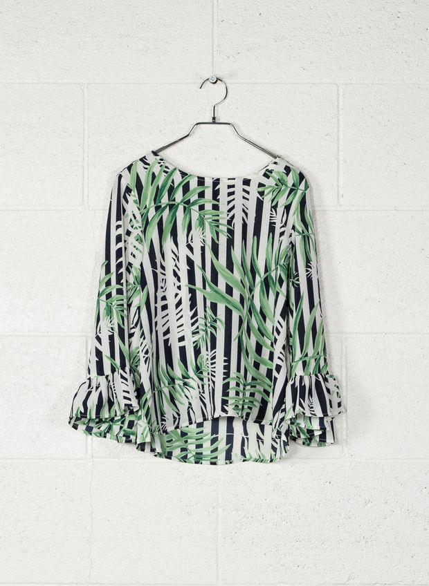 BLUSA FRILL LONG SLEEVED TOP, JUNGLE, large