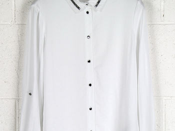 CAMICIA COLLO CATENA, A000WHT, small