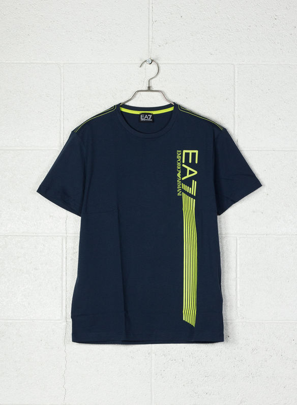 EA7 T-SHIRT IN COTONE STRETCH CON LOGO - 1554NVYLIME - XL (8059972244150)