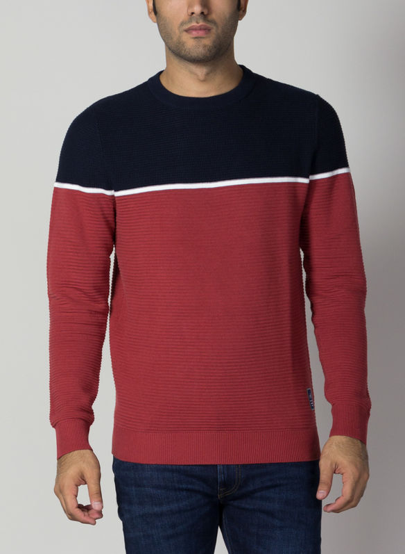 MAGLIONE BRIT BICOLOR, NVYRED, medium