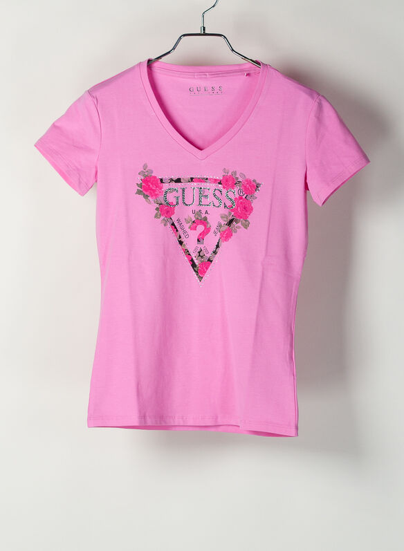 T-SHIRT TRIANGOLO LOGO STRASS, G61E PINK, medium
