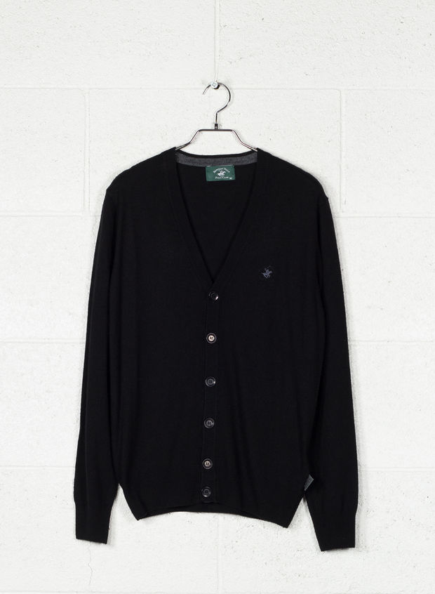 CARDIGAN BOTTONI MISTO CASHMERE, BLACK, large