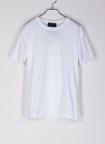 T-SHIRT LOGO STRASS, BIANCO, small