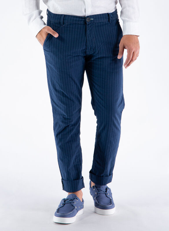 PANTALONE CHINO RIGATO, 194024NVY, medium